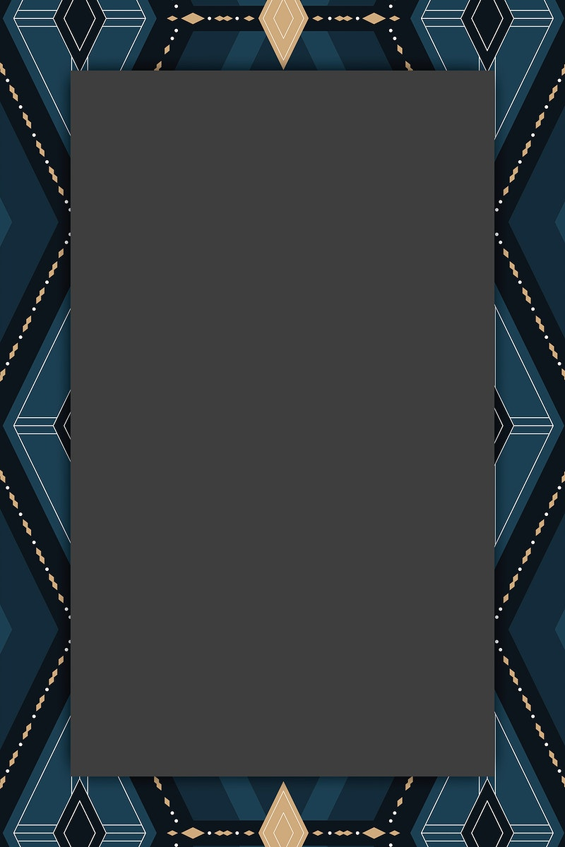 Seamless navy blue geometric patterned frame vector