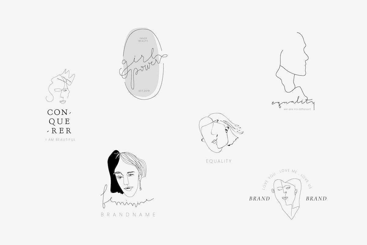 Feminine girl power branding vector collection