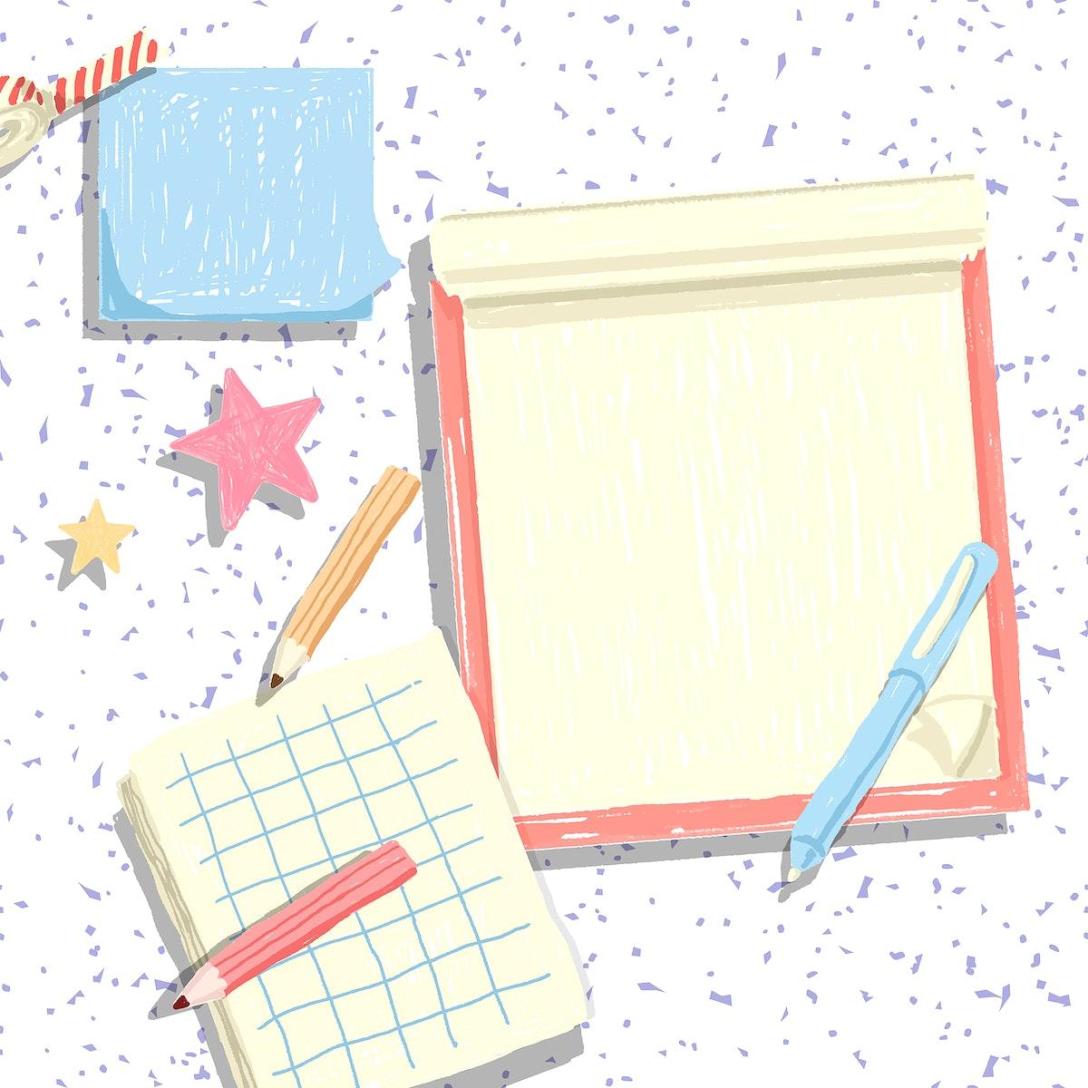 Blank scarpbook on a confetti background vector