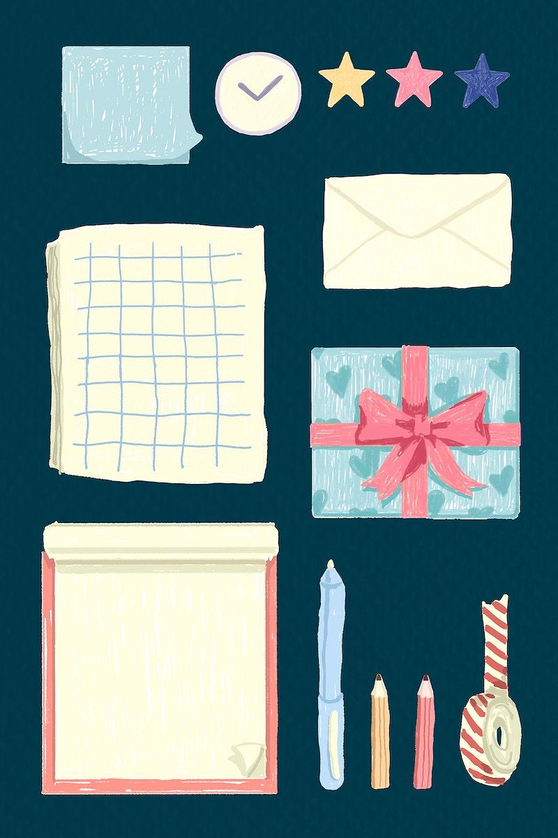 Stationery on a blue background vector set