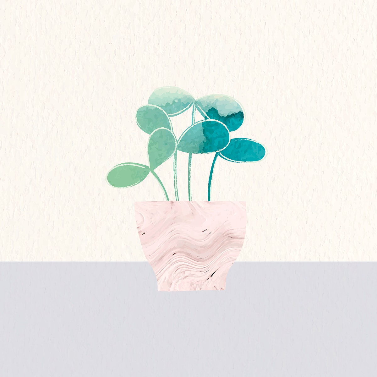 Watercolor tropical potted plant