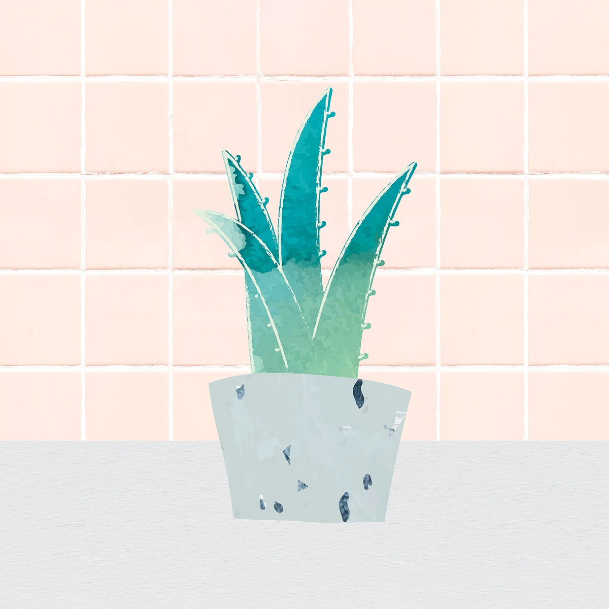 Watercolor succulent potted plant