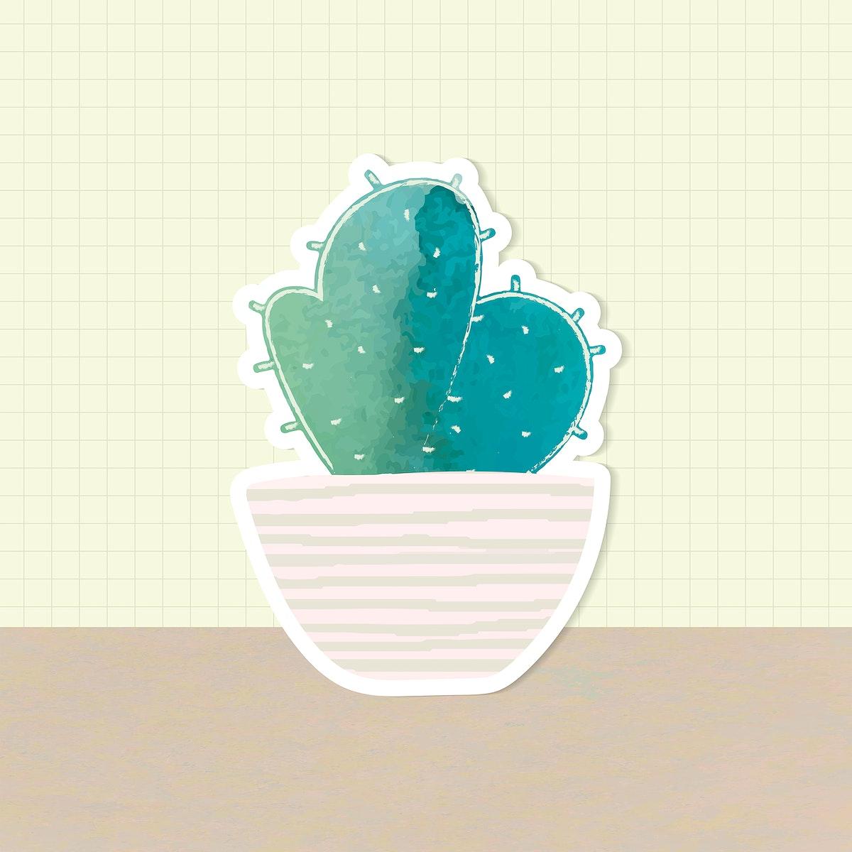 Watercolor cactus pot sticker vector