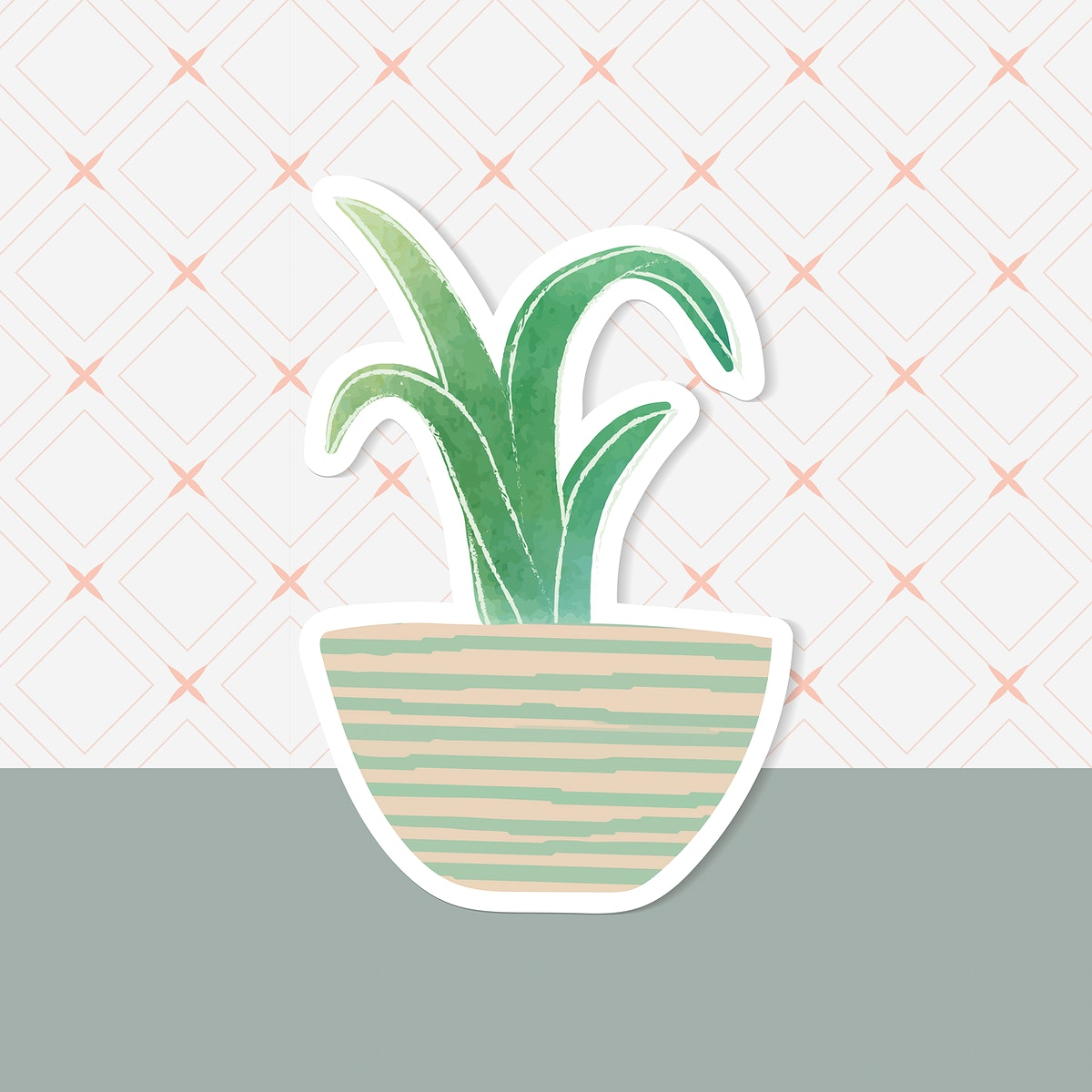 Watercolor succulent potted plant sticker vector
