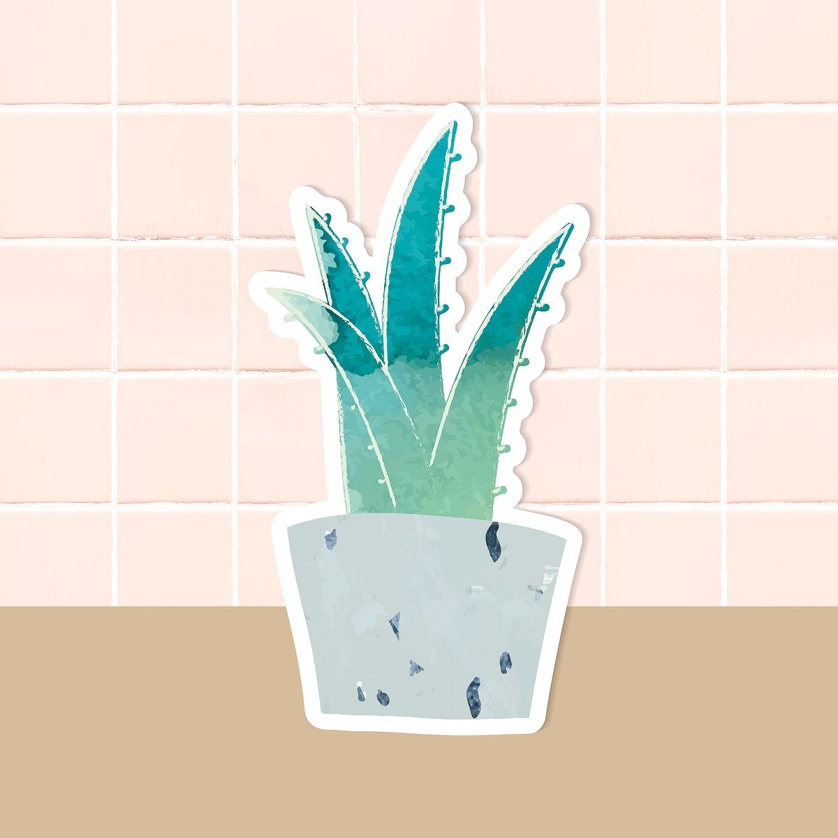 Watercolor succulent potted plant sticker