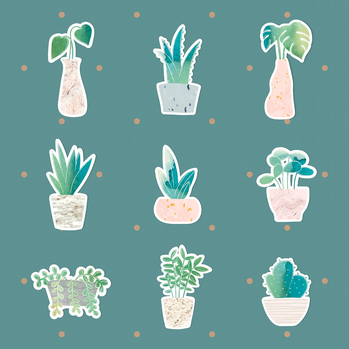 Watercolor potted plants collection sticker