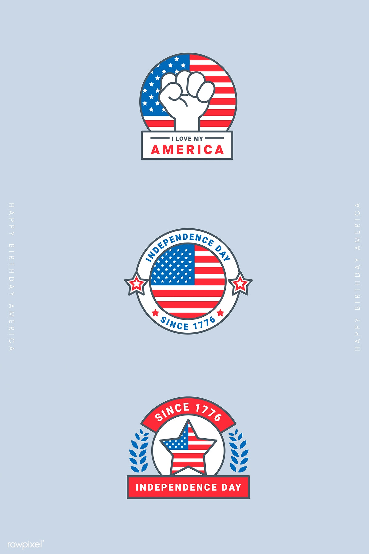 Download premium illustration of American independence day badge