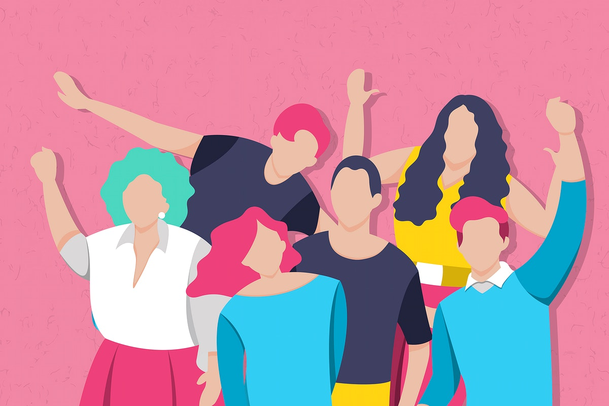 Diverse characters on pink background vector