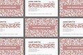 William Morris Pattern business card template vector