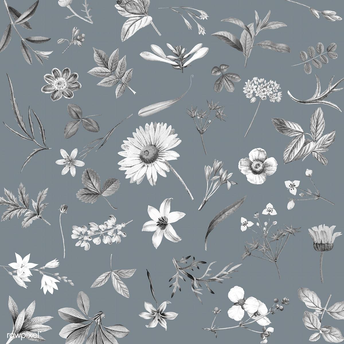 Download Premium Vector Of Gray Floral Wallpaper Design Vector 1201081