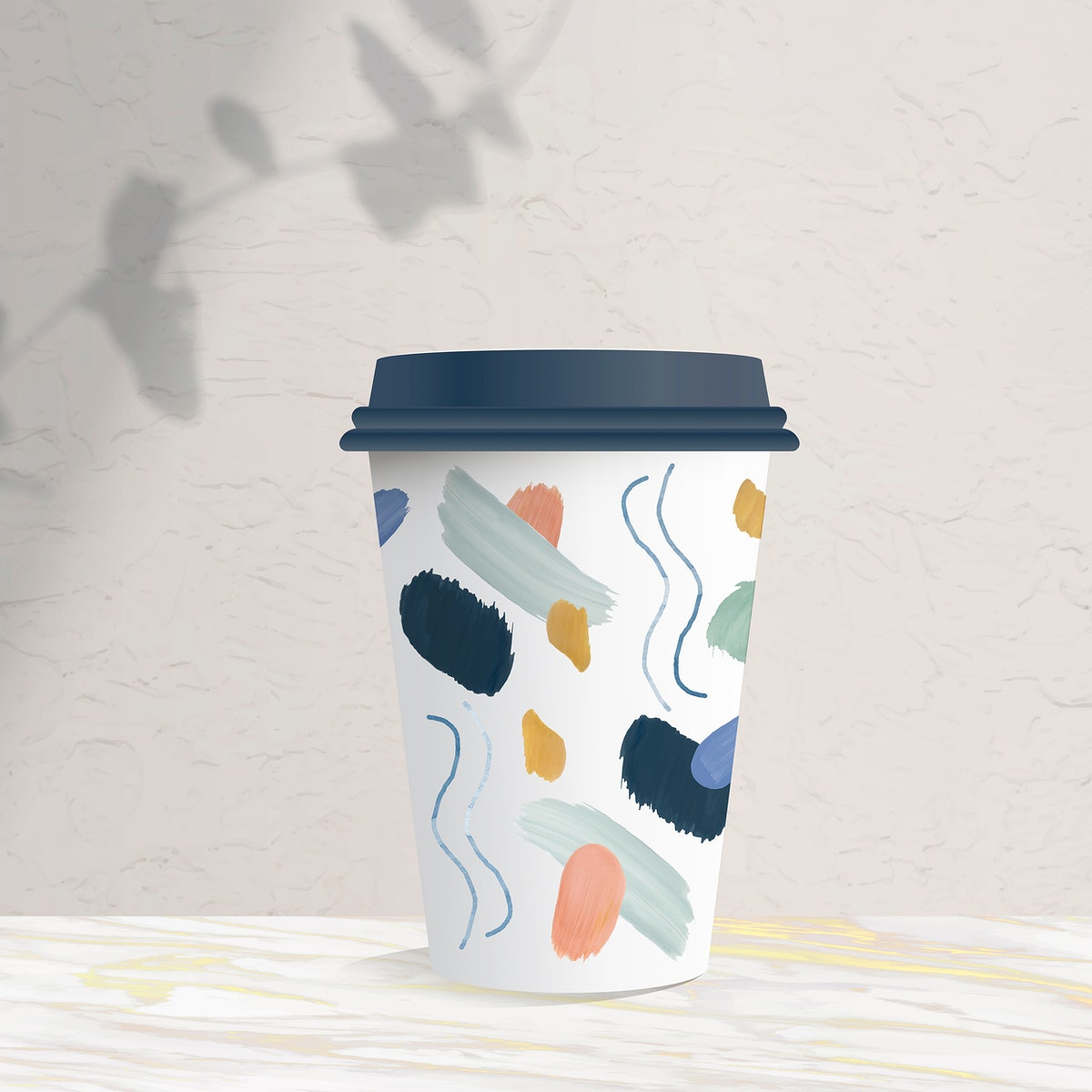Abstract design element on a paper cup mockup vector