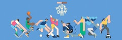Youth day celebration  blue banner template vector