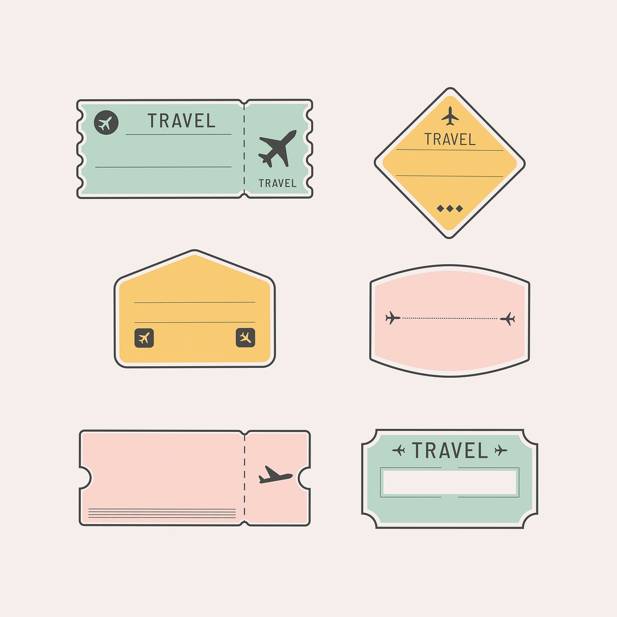 Travel stickers and badge set vector