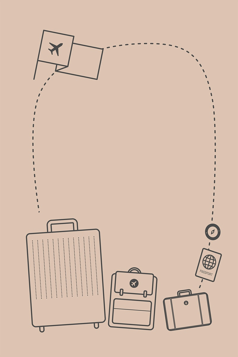 Air travel decorated blank frame vector