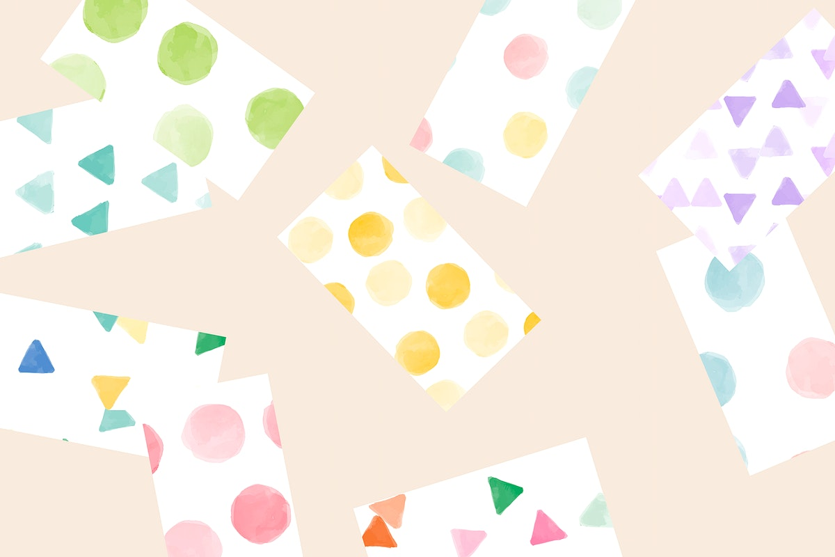 Colorful geometric watercolor seamless pattern  background vector collection