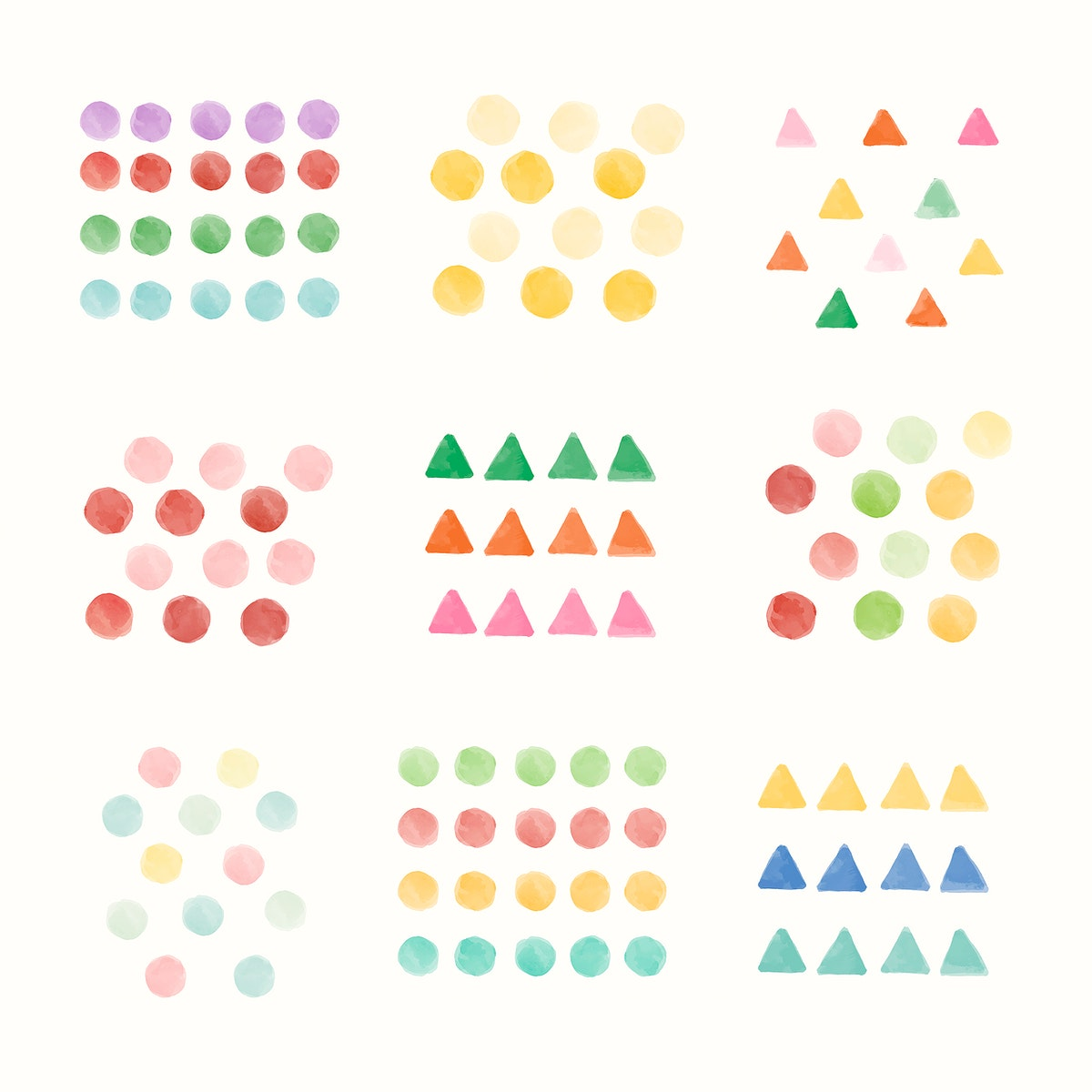 Colorful geometric watercolor background vector set