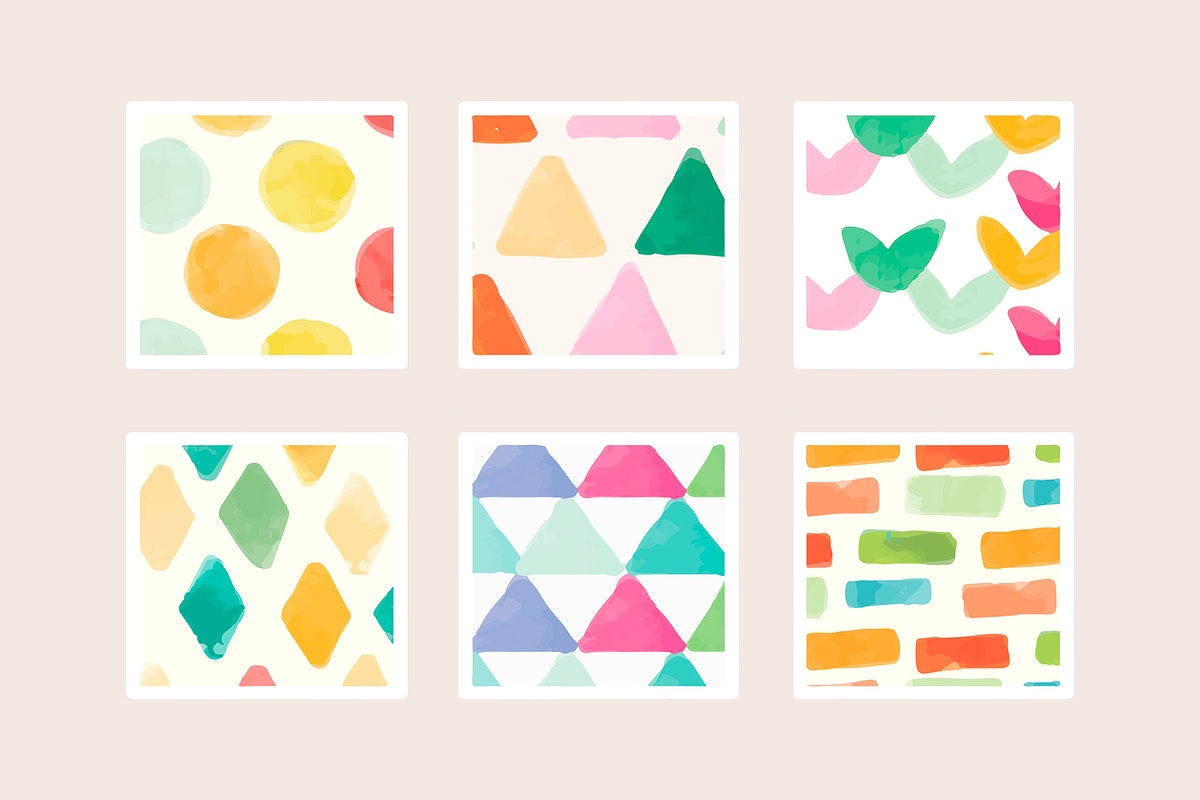 Colorful geometric watercolor seamless pattern background vector set