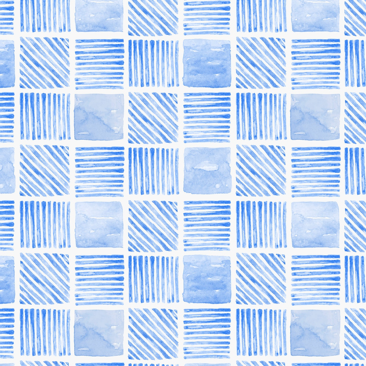 Indigo blue watercolor geometric seamless patterned background vector