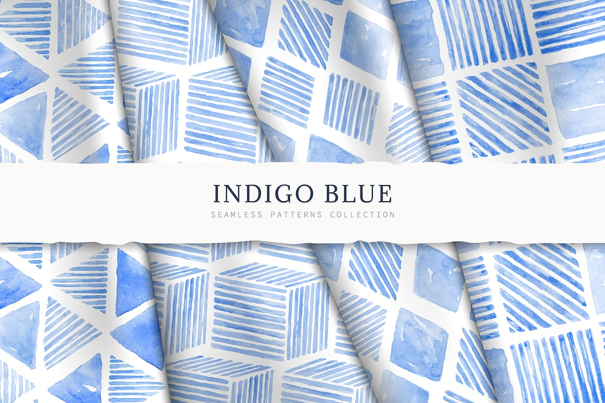 Indigo blue watercolor geometric seamless patterned background vector set