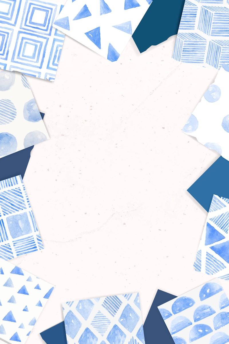 Indigo blue geometric seamless patterned background vector