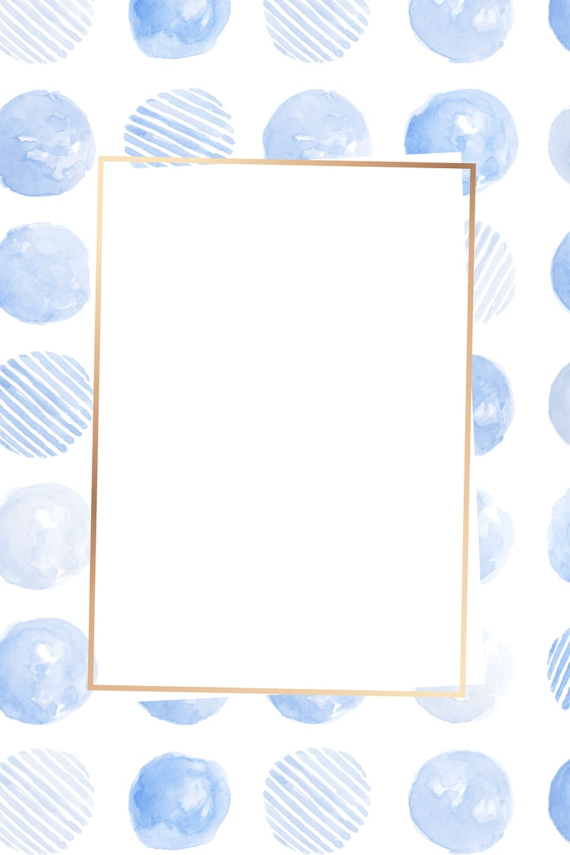 Gold frame with indigo blue circle seamless patterned background vector