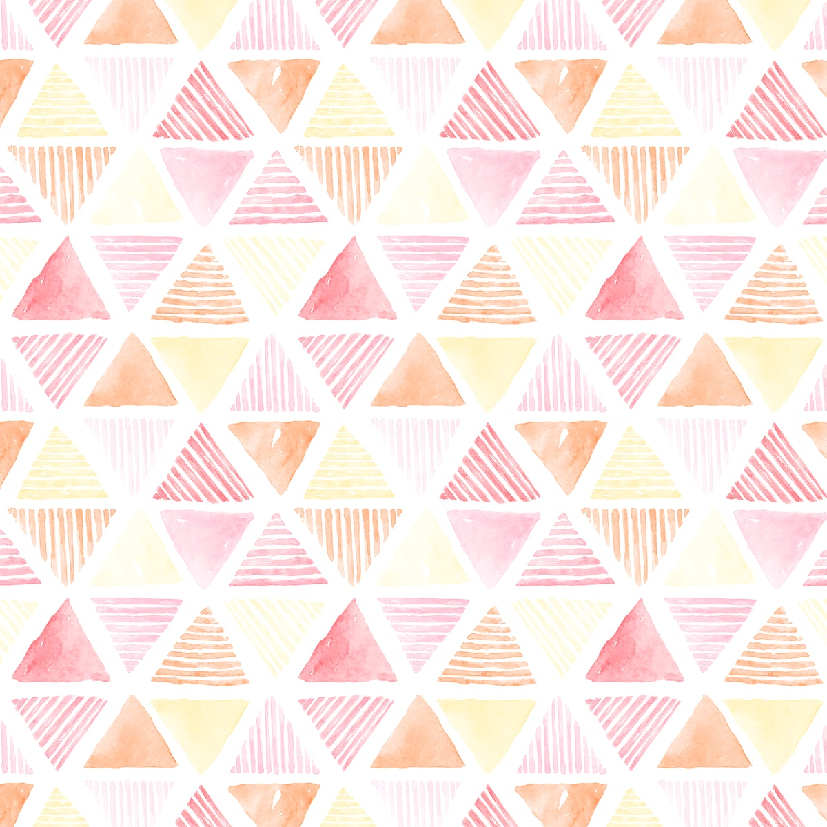 Pink watercolor triangle patterned seamless background vector