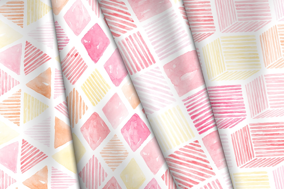 Pink watercolor geometric seamless patterned background vector set
