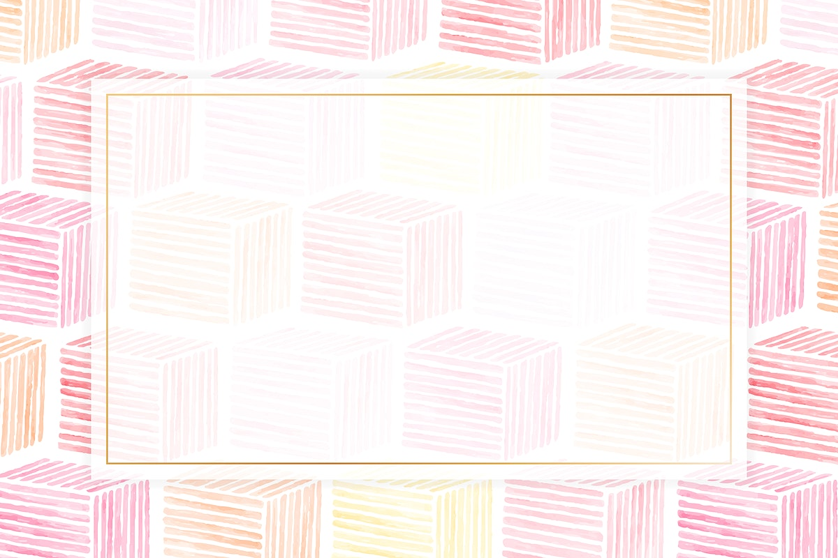 Gold frame with pink cubic seamless patterned background vector