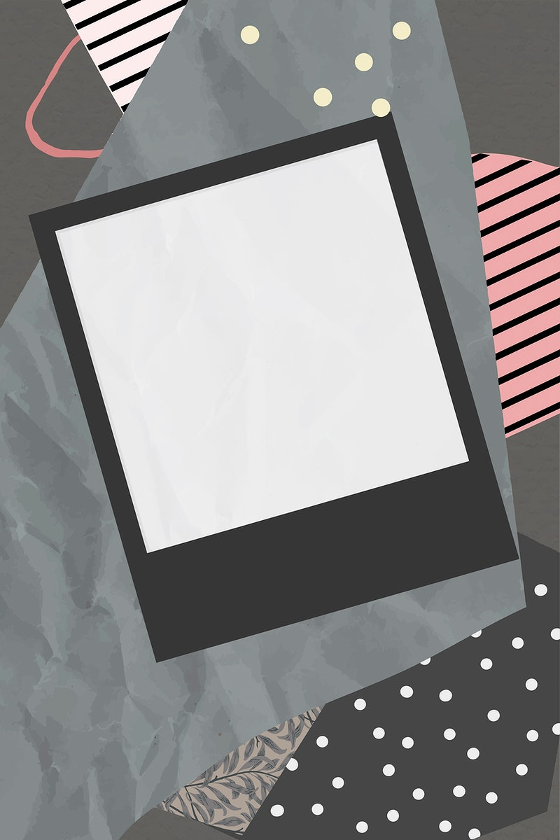 Blank photo frame on scrapped paper background vector