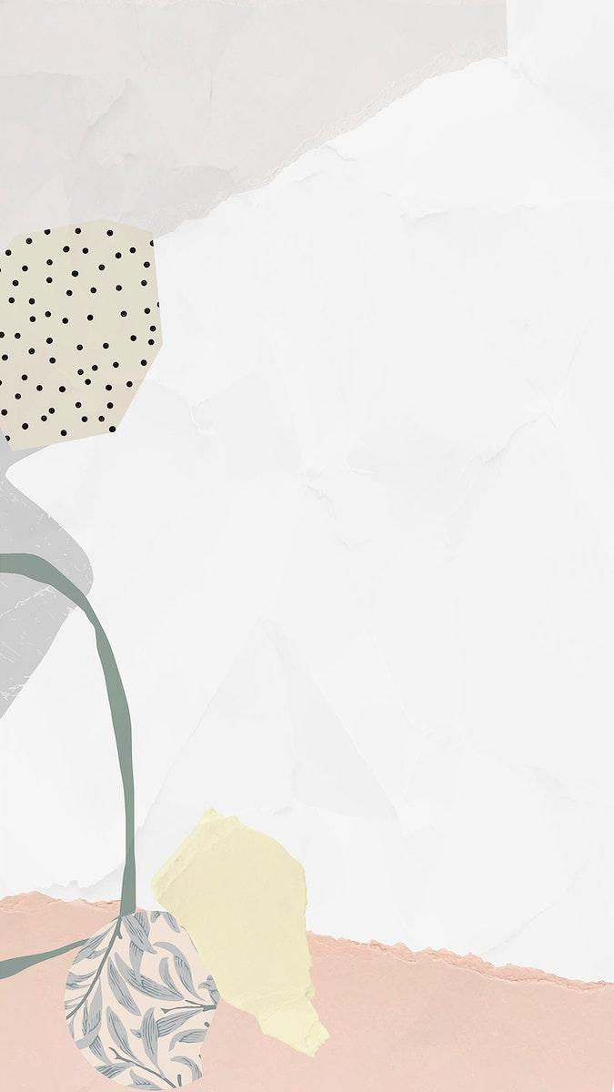 White frame mobile phone wallpaper vector
