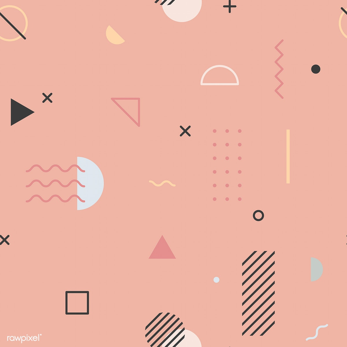 Download Premium Vector Of Pink Memphis Pattern Wallpaper Vector 1201420