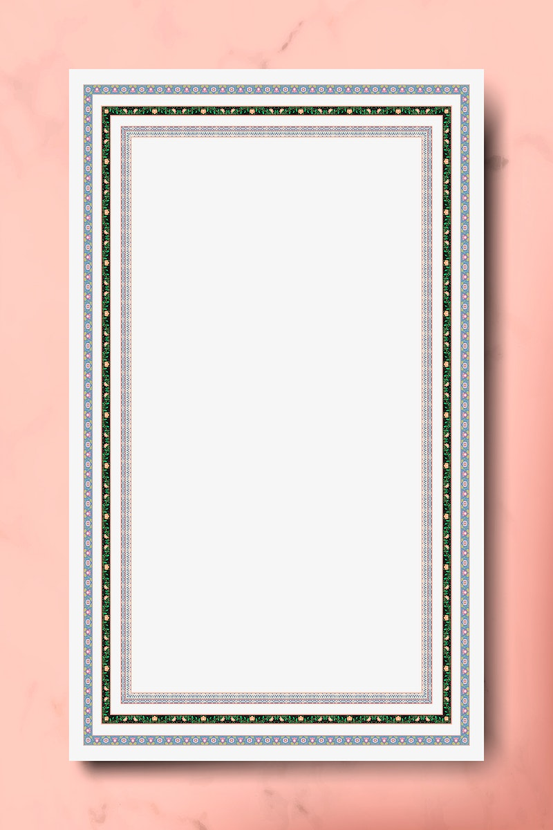 Indian pattern frame on pink background vector