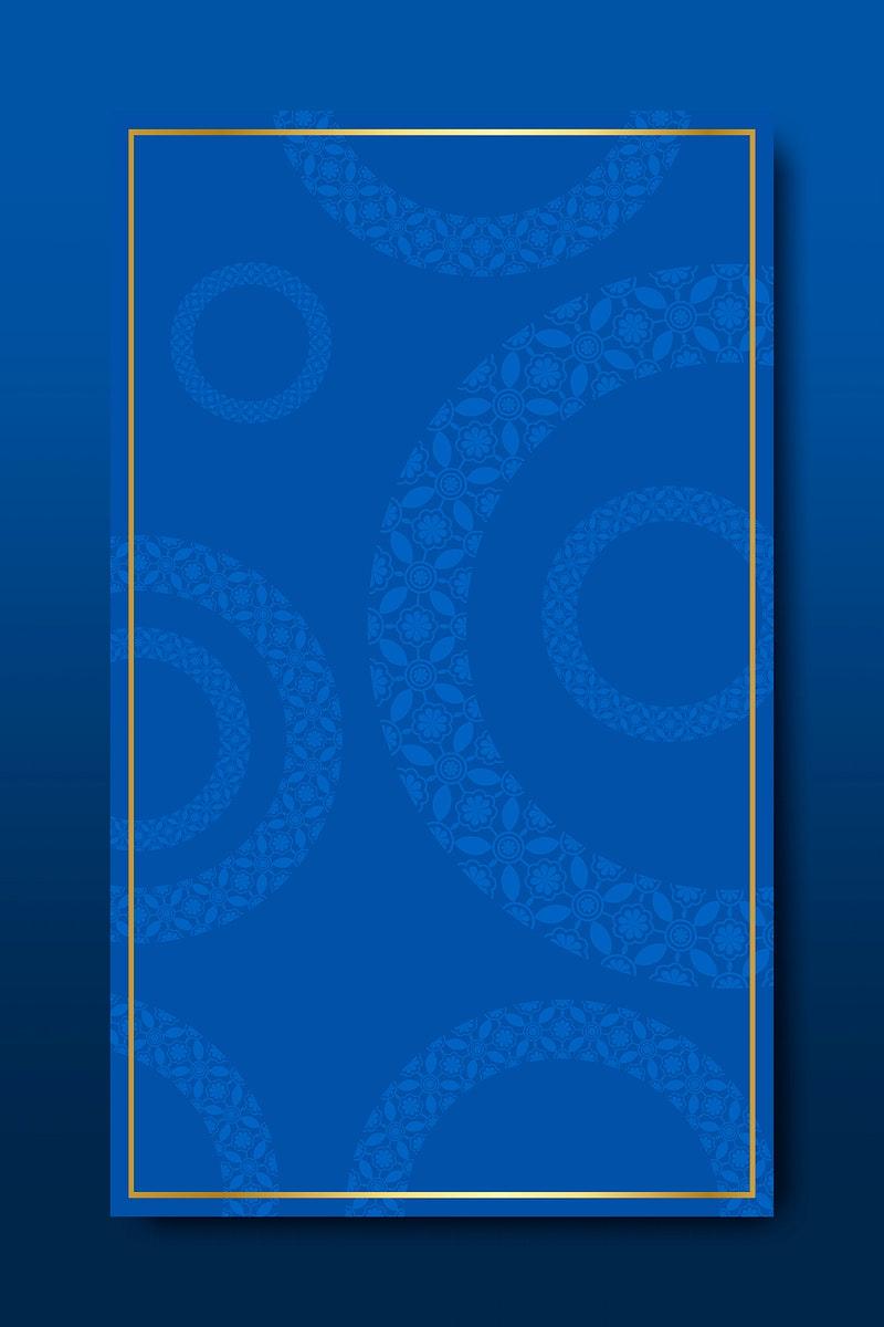 Indian pattern frame on blue background vector