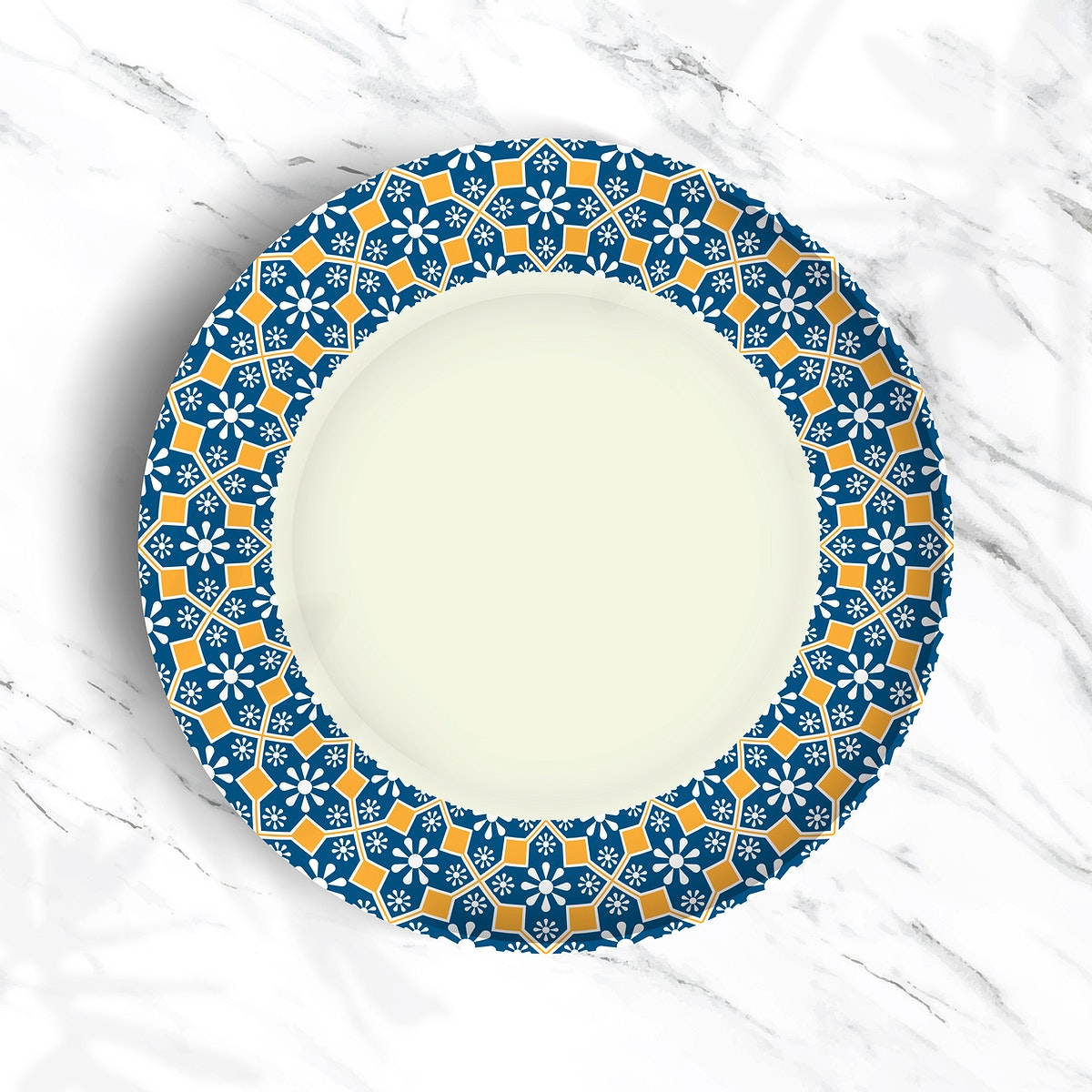 Indian pattern plate on white marble background vector