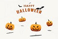 Happy Halloween background with Jack O'Lantern and bat elements vector
