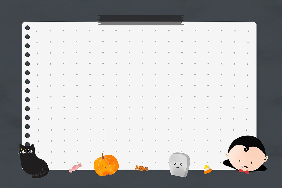 Cute Halloween notepaper vector template