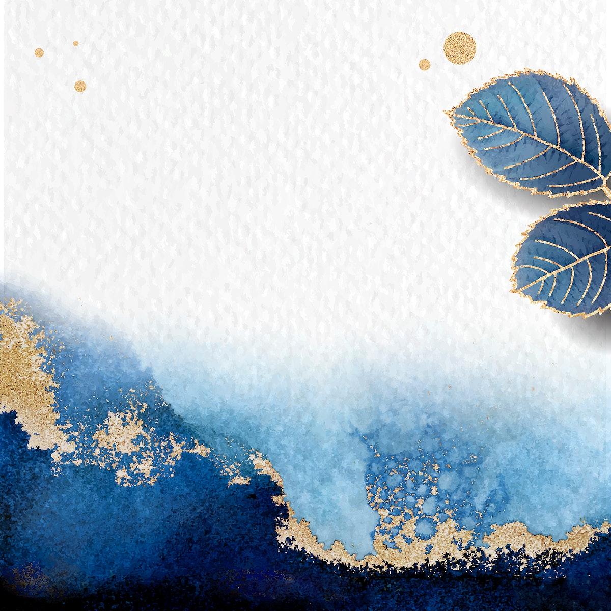 Blank leafy blue frame vector