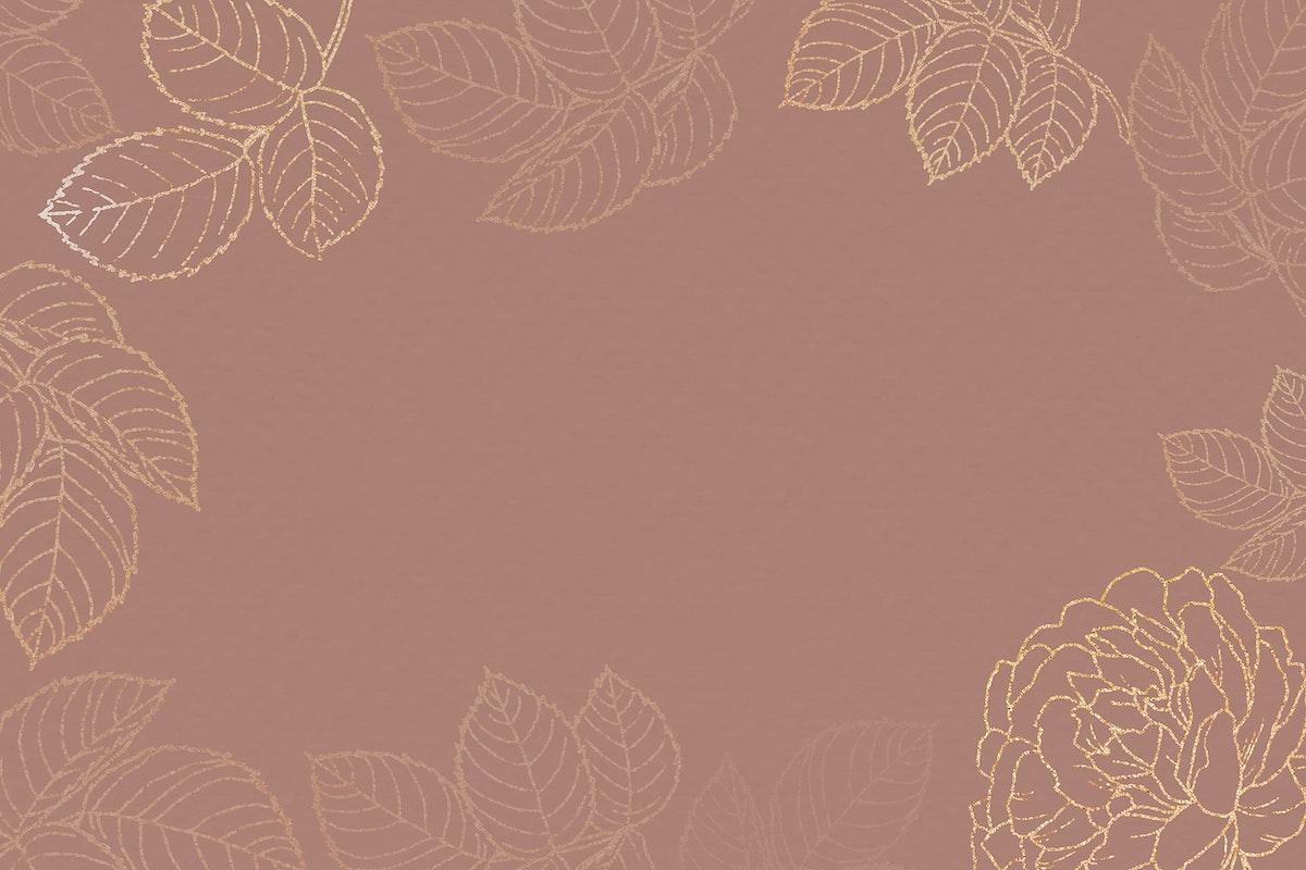 Blank golden floral frame vector