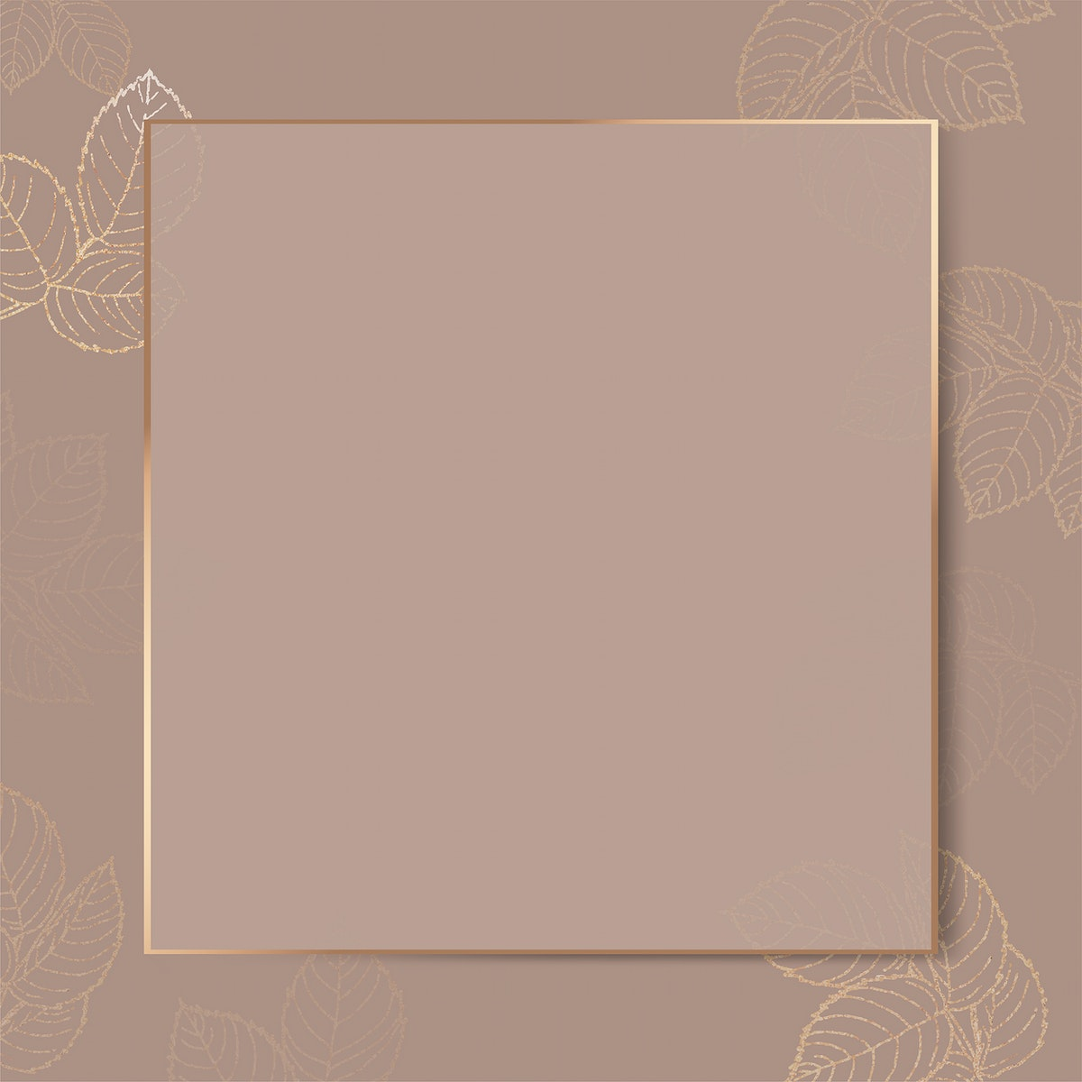 Blank golden leafy frame vector