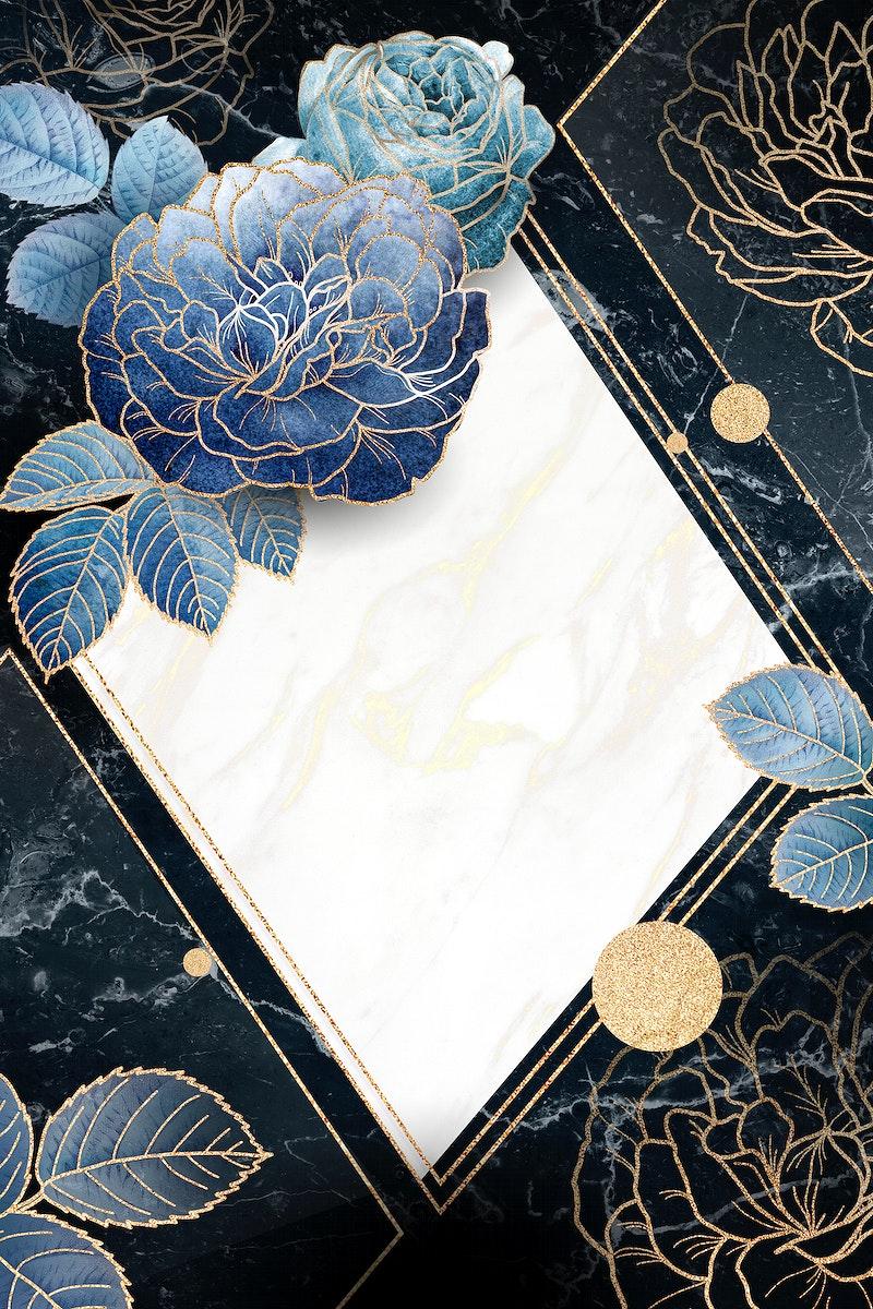 Blank floral golden rhombus frame vector