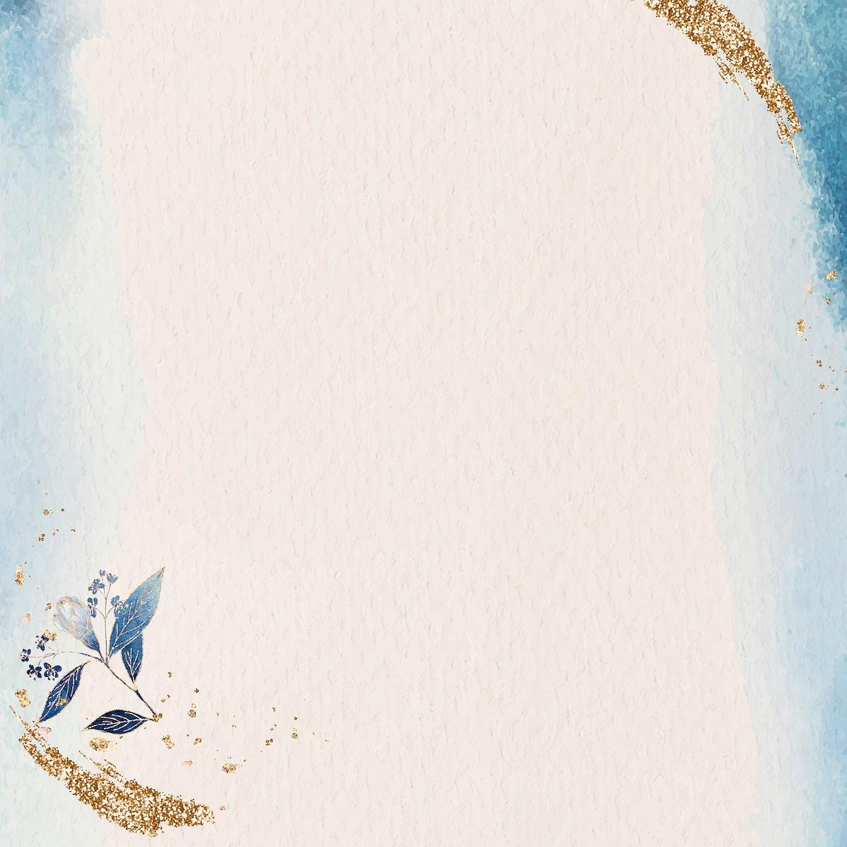 Golden glitter blue frame vector