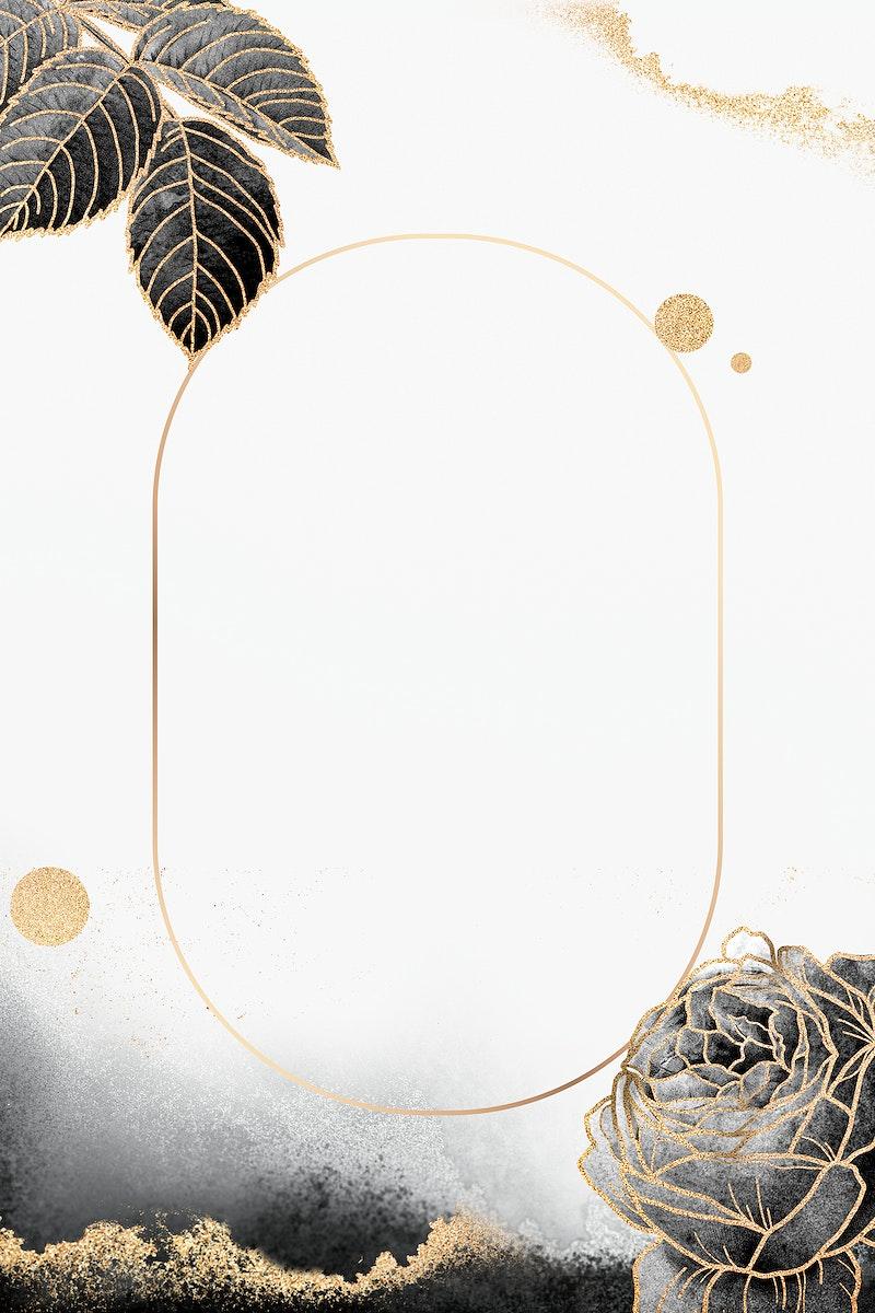 Floral oval golden frame vector