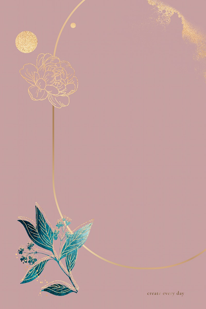 Blank pink oval floral card vector