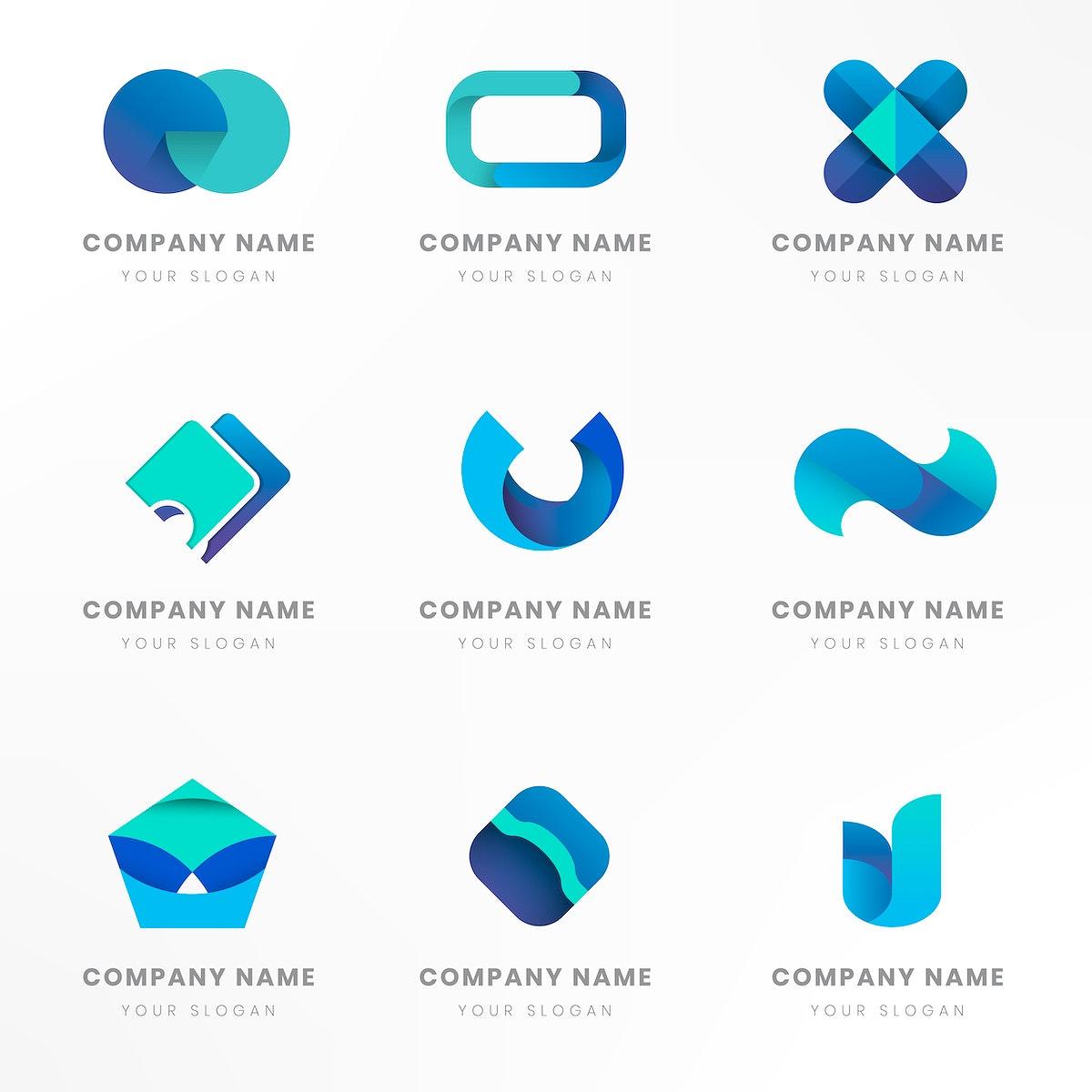 Blue logo branding design vector set