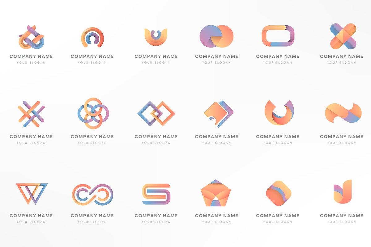 Colorful logo branding design vector set