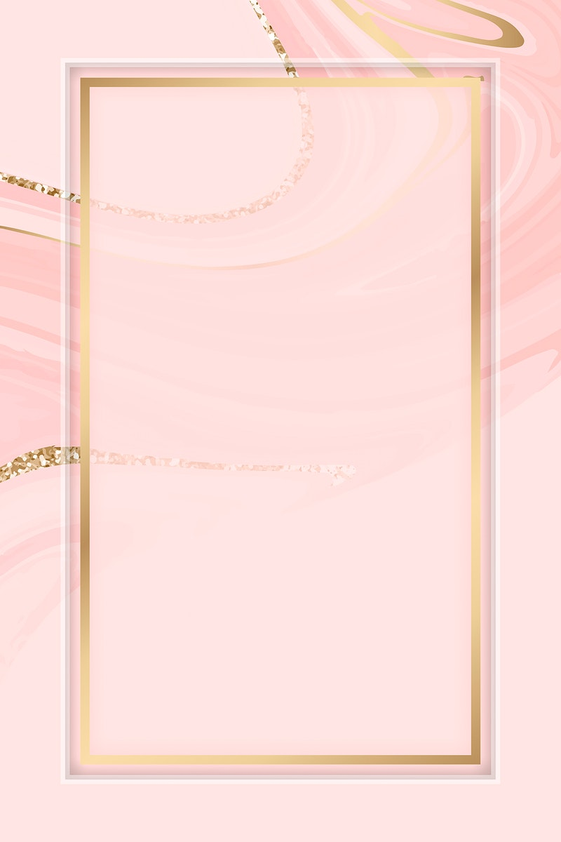 Rectangle gold frame on a pink fluid patterned background vector