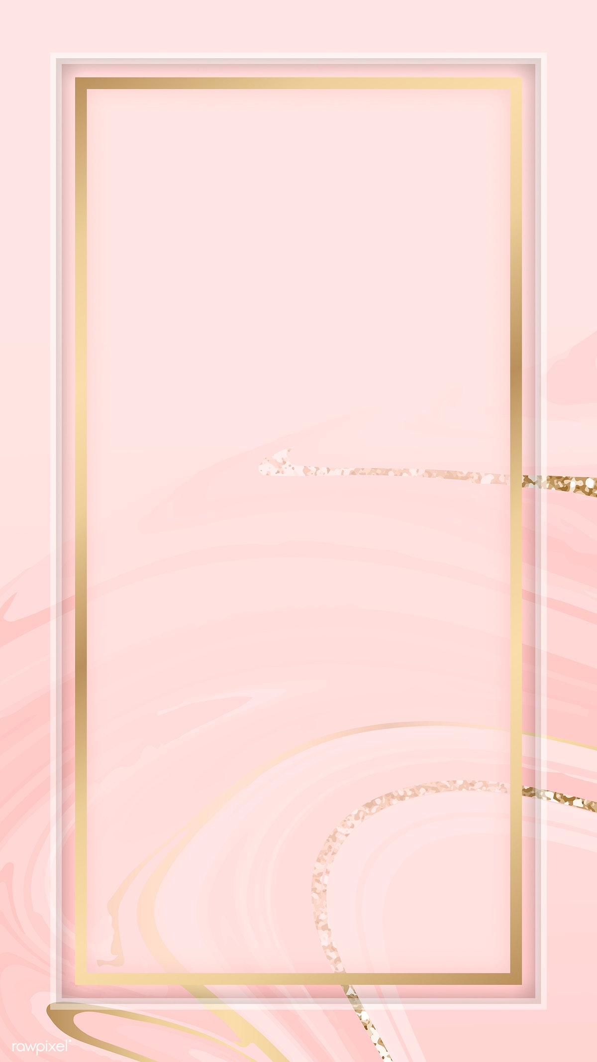 Download premium image of Gold frame on a pink fluid patterned mobile