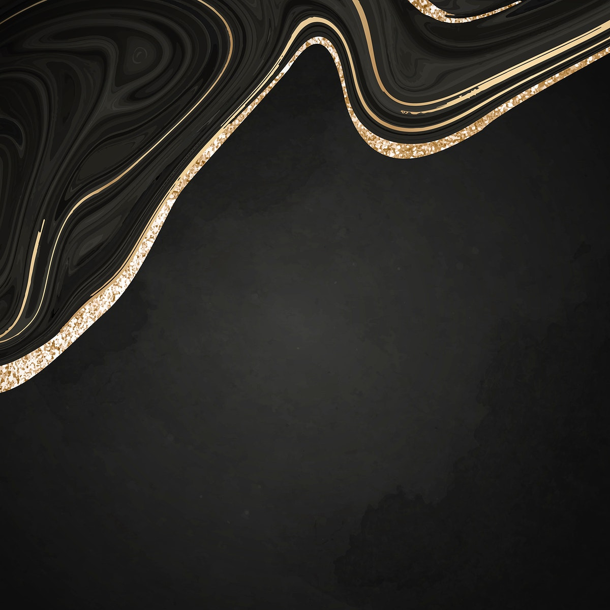 Gold and black fluid patterned background vector