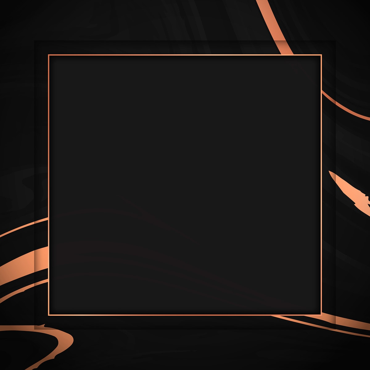 Square bronze frame on black fluid patterned background vector