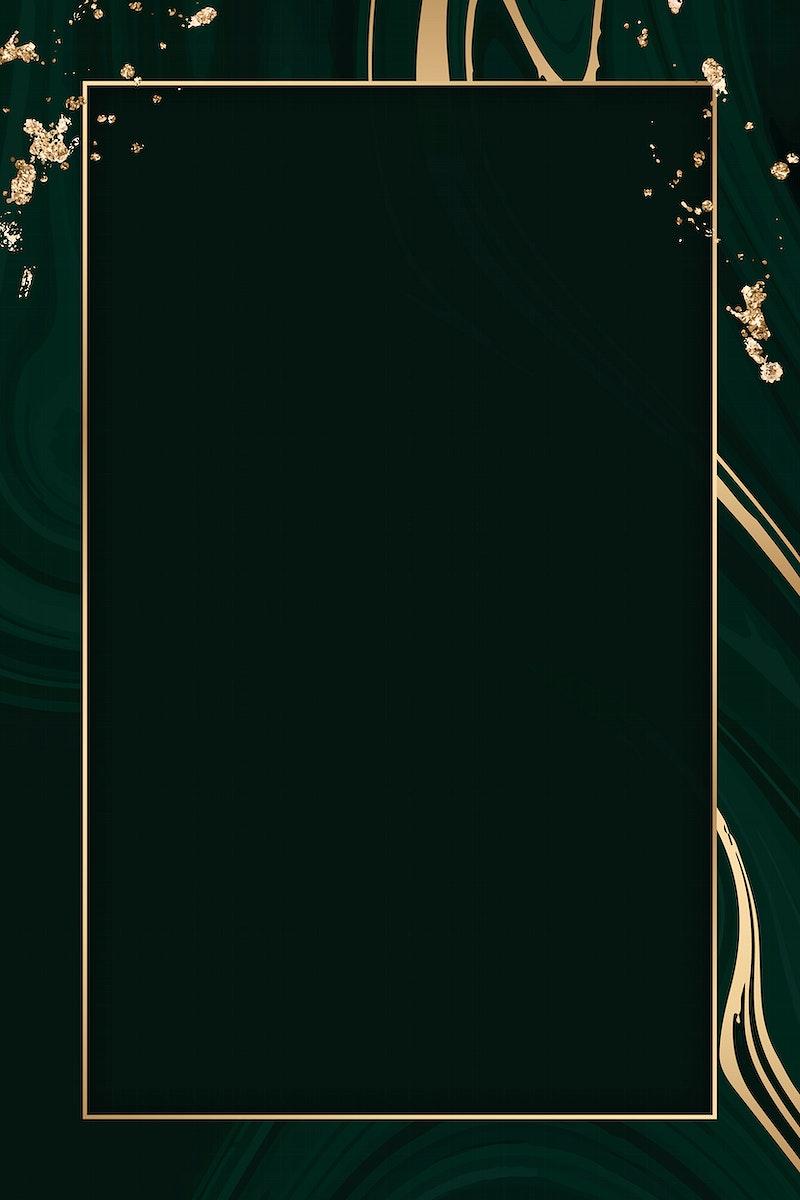Rectangle gold frame on a black fluid patterned background vector